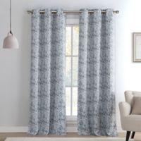 Kensie Mae Sequin 84-Inch Grommet Top Room Darkening Window Curtain Panel Pair in Silver