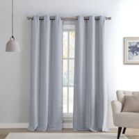 Kelvin Maya Knit 96-Inch Grommet Top Room Darkening Window Curtain Panel Pair in Grey
