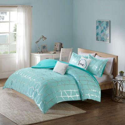 Intelligent Design Raina 5 Piece Full/Queen Comforter Set In Aqua/Silver