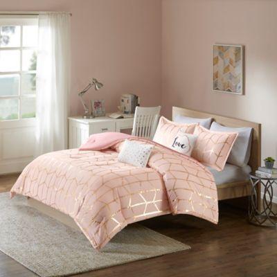 intelligent design raina 5piece king comforter set in blushgold