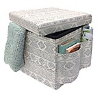 Sit & Store Folding Storage Ottoman in Silver