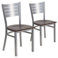 Flash Furniture Slat Back Silver Metal Chairs with Walnut Wood Seats (Set of 2)