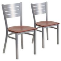 Flash Furniture Slat Back Silver Metal Chairs with Cherry Wood Seats (Set of 2)
