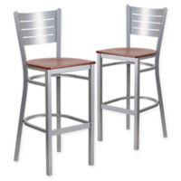 Flash Furniture Horizontal Slat Back Silver Metal Stools with Cherry Wood Seats (Set of 2)