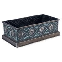 Household Essentials® Small Decorative Metal Storage Bin in Silver/Green