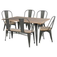 LumiSource Oregon 6-Piece Dining Set in Grey/Brown