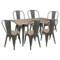 LumiSource Oregon 7-Piece Dining Set in Grey/Brown