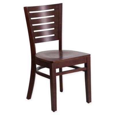 Flash Furniture Slat Back 33.5 Inch Walnut Wood Chair