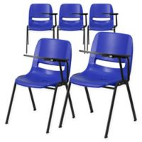 Flash Furniture Chairs with Left Flip-Up Tablet Arms in Blue (Set of 5)