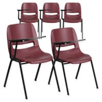 Flash Furniture Chairs with Right Flip-Up Tablet Arms in Burgundy (Set of 5)