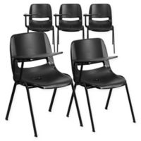 Flash Furniture Chairs with Right Flip-Up Tablet Arms in Black (Set of 5)
