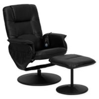 Flash Furniture 39-Inch Bonded Leather Massaging Recliner in Black