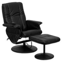 Flash Furniture 41-Inch Bonded Leather Massaging Recliner in Black
