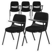 Flash Furniture Padded Chairs with Left Flip-Up Tablet Arms in Black (Set of 5)