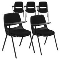 Flash Furniture Padded Chairs with Right Flip-Up Tablet Arms in Black (Set of 5)