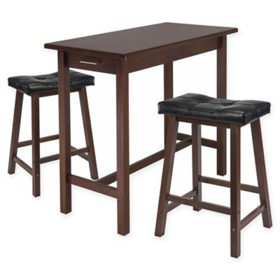 winsome sally 3piece breakfast table set in antique walnutblack