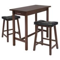 Winsome Sally 3-Piece Breakfast Table Set in Antique Walnut/Black