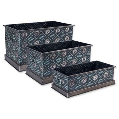 household essentials decorative metal storage bins set of 3