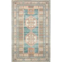 "Nourison Madera 3'6"" x 5'6"" Machine Woven Area Rug in Teal Green"