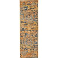 """Nourison Passion 1'10"""" x 6' Machine Woven Runner in Teal/Sun"""