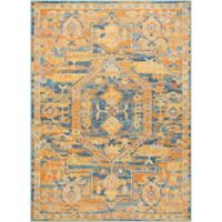 "Nourison Passion 6'7"" x 9'6"" Machine Woven Area Rug in Teal/Sun"