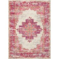 "Nourison Passion 6'7"" x 9'6"" Machine Woven Area Rug in Ivory/Fushia"