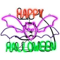 Gemmy Light Glo Flying Bat Halloween Sign