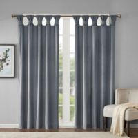 Madison Park Sonnet Velvet 84-Inch Twist Tab Room Darkening Window Curtain Panel in Charcoal