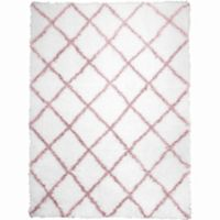 Home Dynamix Oxford Diamond 5-Foot 2-Inch x 7-Foot 2-Inch Shag Area Rug in Pink