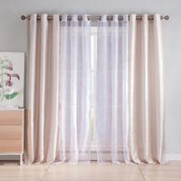 Kensie Leone 84-Inch Rod Pocket Sheer Window Curtain Panel Pair in Sand