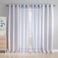 Kensie Leone 84-Inch Rod Pocket Sheer Window Curtain Panel Pair in Silver