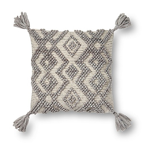 image of Magnolia Home by Joanna Gaines Karleigh Square Throw Pillow in Grey