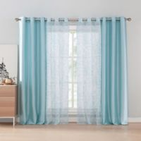 Kensie Lilias 84-Inch Grommet Window Curtain Panel Pair in Teal