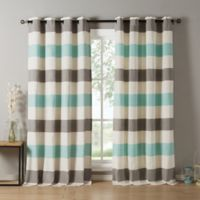 Kensie Iouri 84-Inch Grommet Top Window Curtain Panel Pair in Grey/Blue
