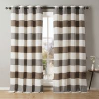 Kensie Iouri 84-Inch Grommet Top Window Curtain Panel Pair in Grey/Latte