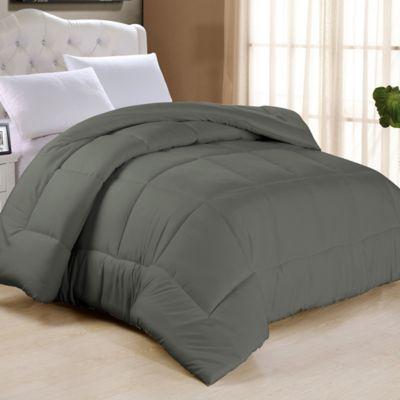 cathay home down alternative queen comforter in grey - Queen Down Comforter