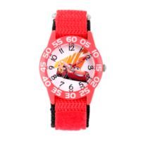 Disney® Cars 3 Children's 32mm Lightening McQueen Time Teacher Watch in Red w/Nylon Strap