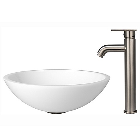 image of Vigo VGT211 Phoenix Stone Sink and Vessel Faucet Set in Brushed Nickel