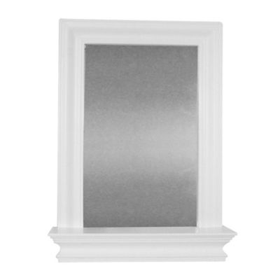 elegant home fashions stratford wall mirror with shelf in white - White Framed Bathroom Mirror