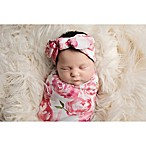Tiny Blessings Boutique Size 0-6M 2-Piece Floral Swaddle Blanket and Headband Set in Pink