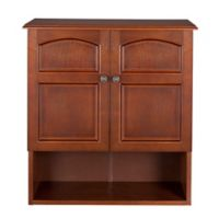 Elegant Home Fashions Martha 2-Door Wall Cabinet in Mahogany