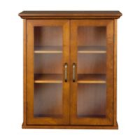 Elegant Home Fashions Tabitha 2-Door Wall Cabinet in Oil Oak