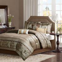 Madison Park Bellagio 7-Piece Jacquard Queen Comforter Set in Brown