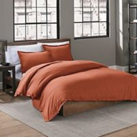 Garment Washed Solid Twin Duvet Cover Set in Burnt Orange