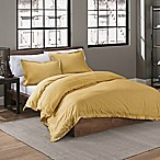 Garment Washed Solid King Duvet Cover Set in Mustard
