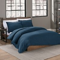 Garment Washed Solid King Duvet Cover Set in Peacock