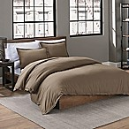 Garment Washed Solid King Duvet Cover Set in Mushroom