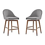 Verona Home Conrad Danish Modern Swivel Walnut Counter Chairs in Smoke (Set of 2)