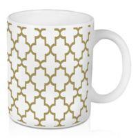 Designs Direct Gold Quatrefoil 11 oz. Coffee Mug in White