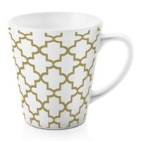 Designs Direct Gold Quatrefoil 12 oz. Latte Mug in White